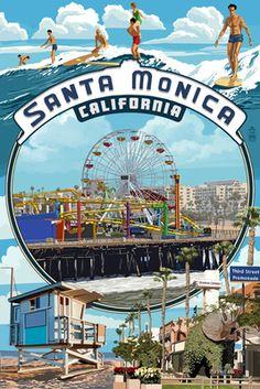 Santa Monica, California - Montage Scenes - Lantern Press Poster