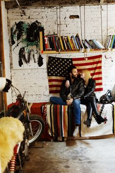 American decor, rock'n'roll style bedroom. Fede Saenz andKathrine Glindvad Larsen at home in #Brookly, by The Selby