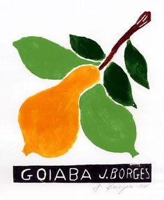 Goiaba - José Francisco Borges (Brazil), Woodcut print on paper (7 1/2 x 7), 2004, 2009