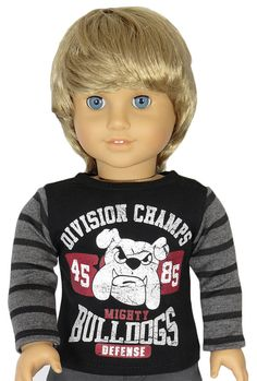 American Boy Doll Clothes Outfit. Upcycled Bulldogs Champs Tee. Doll Clothes for 18-Inch Boy or Girl.