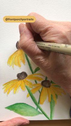 Painting Flowers Tutorial, Easy Flower Painting, Flower Drawing Tutorials, How To Paint Flowers, Tree Painting Easy, Flower Art Drawing, Draw Flowers, Painted Flowers, Watercolor Paintings For Beginners