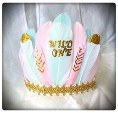 Baby Girl Wild One Feather Crown , 1st Birthday . Girls Feather Headdress , Cake Smash , baby prop , Boho Crown , Tribal Birthday , by ShabbyRabbitDesigns on Etsy