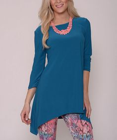 Another great find on #zulily! Teal Sidetail Tunic by Lbisse #zulilyfinds