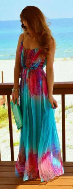 dress, maxi dress, turquoise, beachy, colorful, tropical