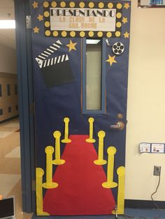My door this year 15-16. Bilingual K. Hollywood theme