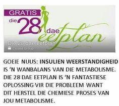 INSULIEN WEERSTANDIGHEID 28 dae eetplan 28 Dae Dieet, Dieet Plan, 28 Days, Eating Plans, Kos, Diets, Body Care, Weight Loss