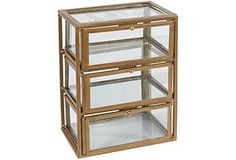 "10"" Three-Level Glass Box, Gold*"