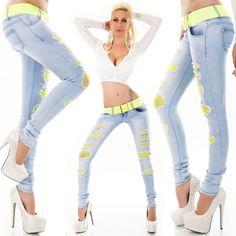 Gürtel Damen Hüft Jeans Hose Röhrenjeans Destroyed Risse Netzstoff blau incl