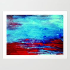 Blue and Red Art Print by dimitrapapageorgiou Red Art, From The Ground Up, Buy Frames, Unique Art, Printing Process, Waiting, Gallery Wall, Smooth, Walls