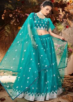 #turquoise #mirror #embellished #net #lehenga #choli #designs # traditional #indian #outfits #gorgeous #wedding #look #ootd #new #arrival #womenswear #online #shopping Robes Western, Western Dresses, Indian Dresses, Indian Outfits, Lehenga Choli, Net Lehenga, Lehenga Blouse, Party Wear Lehenga, Party Dress