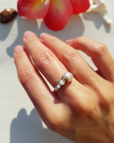 Lifou 'All I need' ring for gentle hearts who believe that every soul is like the ocean 🌊💕🐬  💎 Full of inner beauty like beautiful creatures under the sea - PEARL ☀️ Always shining from within like the glimmering waves - OPAL 🌎 Knowing the deepest mysteries like the ocean itself - LARIMAR Always Shine, Sea Pearls, Under The Sea, Beautiful Creatures, Opal, Hearts, Waves, Rings, Opals