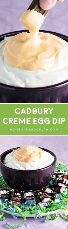 Cadbury Creme Egg Dip! If you love Cadbury Creme Eggs, you'll love this dip! Sweet and sticky, just like the candy, it's the best way to share creme eggs with everyone! | HomemadeHooplah.com