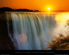 Victoria Falls- In between Zambia and Zimbabwe, Africa. The largest falls in the world.