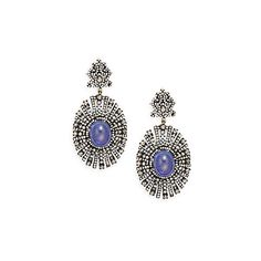 Bavna Tanzanite, Champagne Diamond & Sterling Silver Drop Earrings ($2,800) ❤ liked on Polyvore featuring jewelry, earrings, purple, purple diamond earrings, sterling silver earrings, pave diamond earrings, diamond drop earrings and tanzanite earrings