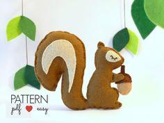 Felt Squirrel Pattern  Woodland Sewing Pattern  DIY Softie