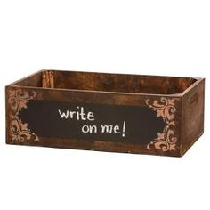 24 in. Vintage Wooden Brown Chalkboard Box, 0107 at The Home Depot - Mobile