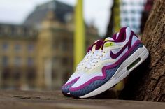 Trendy Womens Sneakers 2017/ 2018 : Nike Wmns Air Max 1 Breeze   White / Bright Grape   Venom Green   Violet Shade