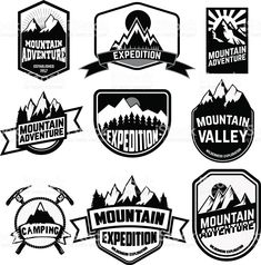 Illustration of Set of vintage style mountains expedition labels and badges and design elements. Vector logo,badge or label design template. vector art, clipart and stock vectors. Brand Identity Design, Logo Design, Web Design, Design Ideas, Label Design, Icon Design, Mountain Logos, Consulting Logo, Badge Logo