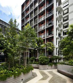 WOHA completes Kampung Admiralty, a state-of-the-art mixed use and senior housing development in Singapore Condo Design, Apartment Design, Senior Apartments, Glass Structure, Landscape Architecture Design, Social Housing, Building Facade, Facade Design, Urban Farming