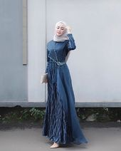 Image may contain: 1 person, standing Dress Brokat Muslim, Dress Brokat Modern, Kebaya Modern Dress, Dress Pesta, Muslim Dress, Hijab Gown, Hijab Dress Party, Dress Muslim Modern, Muslimah Wedding Dress