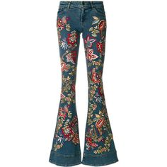 Alice+Olivia embroidered flared jeans (17.333.930 IDR) ❤ liked on Polyvore featuring jeans, pants, bottoms, trousers, blue, embroidery jeans, flared jeans, blue flare jeans, embroidered jeans and flare jeans