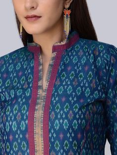 Blue Ikat Cotton Silk Kurta - All About Salwar Designs, Silk Kurti Designs, Kurta Designs Women, Kurti Designs Party Wear, Neck Designs For Suits, Dress Neck Designs, Blouse Designs, Collar Kurti Design, Kurta Neck Design
