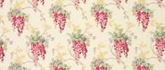Wisteria Floral Cranberry Cotton/Linen Mix Curtain Fabric at Laura Ashley