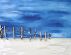 Gone to the beach to find a storm,with real driftwood fence sewn to the canvas by Kerrie Griffin-Rogers