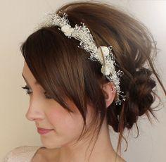 babies breath hair and headband. bridesmaid hair?