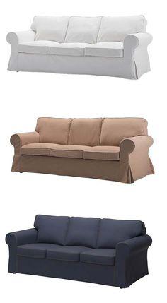 Ein Wohnzimmer Mit Einem Wei En Ektorp 3er Sofa Und Ektorp Sessel Mit Kissen In Beige Und