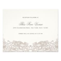 Victorian Floral Lace Taupe Reception Card - antique wedding gifts  special custom party