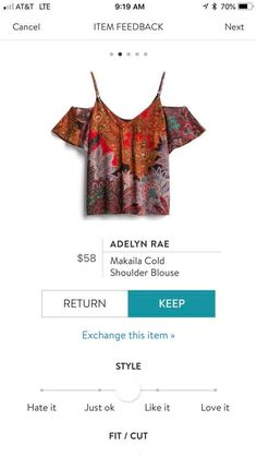 Adelyn Rae Makaila Cold Shoulder Blouse Stitch Fix SF Stitch Fix Fall, Cold Shoulder Blouse, Holiday Looks, Ibiza, Spring Outfits, Style Me, Boho, Crop Tops, Pattern