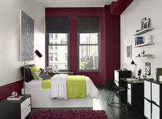 Benjamin Moore Paint Colors - Red Bedroom Ideas - Cityscape Red Bedroom - Paint Color Schemes . . . . . A deep, rich red adds depth to this contemporary space. . . . . . Accent Wall (by windows) - Raisin Torte (2083-10); Walls (side walls by head of bed and by desk) - Dove Wing (OC-18); Accent (pillow, sheet, & quilt) - Grape Green (2027-40).