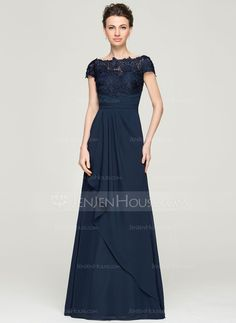 A-Line/Princess Off-the-Shoulder Floor-Length Chiffon Lace Mother of the Bride Dress With Cascading Ruffles (008062568)