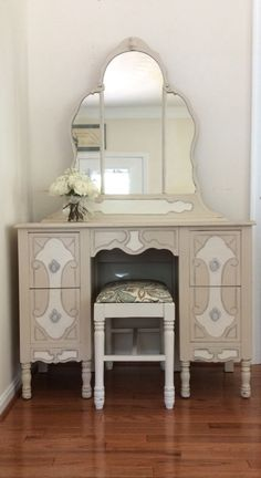 Painted Vanity, French Country, Cottage Chic Dressing Table, Distressed Makeup Table by greywillowllc on Etsy https://www.etsy.com/listing/467089253/painted-vanity-french-country-cottage