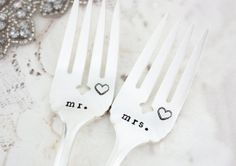 Mr & Mrs. Vintage Wedding Cake Forks. Hand Stamped by TheFadedNest, £20.00