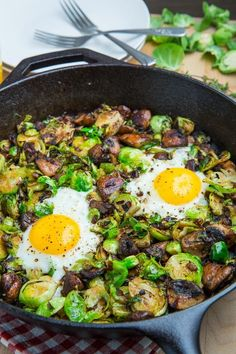 brussels sprout and mushroom hash: oil, onion, mushrooms, garlic, thyme, brussels sprouts, salt, freshly ground black pepper, and eggs