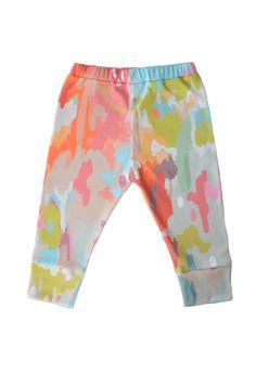 organic cotton leggings in watercolor ikat