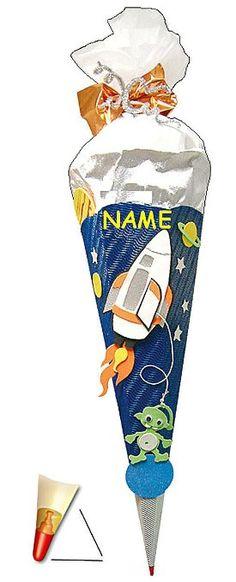 BASTELSET Schultüte - Weltraum 85 cm - incl. Namen - mit Holzspitze - Zuckertüte Roth - ALLE Größen - 6 eckig Space Jungen Weltall Rakete Planeten Stern All Raumschiff