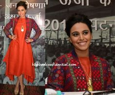 Promoting renewable energy at an event in Bihar, Swara was spotted wearing an asymmetric dress and embroidered jacket, both from Anita Dongre Grassroot. Hair in an updo, she finished out the look with nude pumps and a pendant style Anita Dongre necklace. She had us at the separates. Swara Bhaskar at CEED Renewable Energy Manifesto …