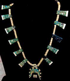Amazing Santo Domingo Pueblo Native Depression Era Overlay Turquoise Thunderbird Naja Pendant or Necklace!