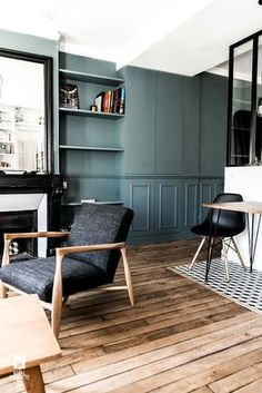 blue walls in paris Living Room Inspiration, Interior Design Inspiration, Home Decor Inspiration, Home Interior Design, Interior Architecture, Home Living Room, Living Spaces, Style At Home, Ideas Hogar