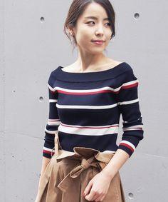 border off shoulder knit - PIPicStats Golf Wear, Knitting Designs, Thing 1, Wardrobes, Print Patterns, Knitwear, Knit Crochet, Stripes, Womens Fashion