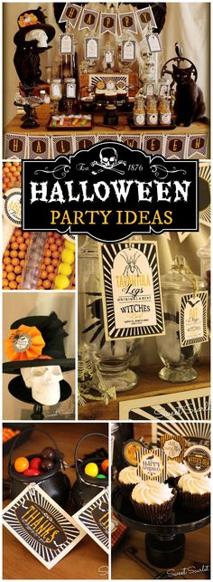 You have to see this vintage Halloween party with a spooky witch's dessert table!  See more party ideas at CatchMyParty.com!