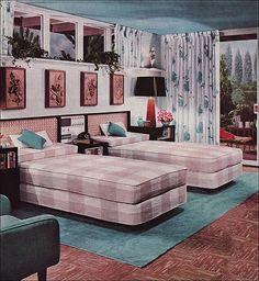 Midcentury Modern Retro Interior Design Decoration Decor 1950s 1960s Twin Beds
