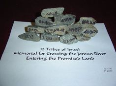 Crossing the Jordan Memorial Bible Story Crafts, Bible Stories, Sunday School Lessons, Sunday School Crafts, 12 Tribes Of Israel, Bible Study For Kids, Memorial Stones, Bible Lessons, Preschool Crafts