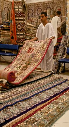 Incredibly complex Berber rugs at a weaving shop in Morocco.