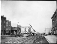 Broadway Street, Gary, Indiana, under construction, 1907.