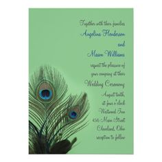 Elegant Peacock Wedding Invitation in green.  The blue and green peacock bird feathers look amazing on this invite.