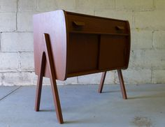 Mid Century Modern styled TEAK CABINET entryway table by CIRCA60
